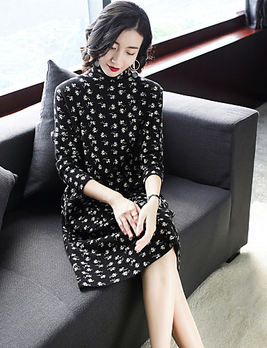 1312eeb4531 Women s Going out Street chic Sweater Dress - Polka Dot Patchwork  Turtleneck Spring Black