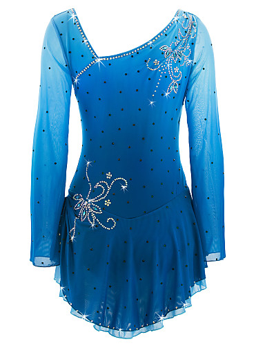 abordables Robe de Patinage-Robe de Patinage Artistique Femme Fille Patinage Robes Azur Spandex Haute élasticité Compétition Tenue de Patinage Fait à la main Patinage sur glace Patinage Artistique