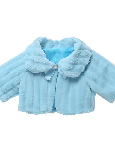 Dla dziewczynek Jendolity kolor Kurtka / płaszcz, Sztuczne futro Długi rękaw Prosty Kreskówka Niebieski Blushing Pink Beige Khaki