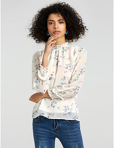 abordables Camisas y Camisetas para Mujer-Mujer Noche Blusa, Escote Chino Un Color / Floral Manga de la linterna Verde Trébol L / Otoño / Invierno
