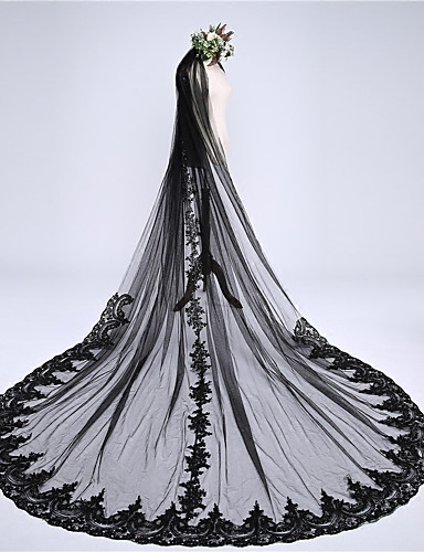 رخيصةأون طرحات الزفاف-One-tier Lace Applique Edge / الزفاف / زفافي الحجاب الزفاف Chapel Veils / Cathedral Veils مع دانتيل دانتيل / تول / Angel cut / Waterfall