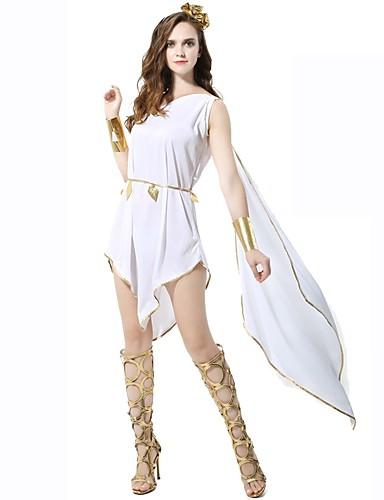 billige Cosplay og kostumer-Athena Gudinde Det gamle Grækenland Det antikke Rom Kjoler Dame Kostume Hvid Vintage Cosplay Uden ærmer Knælang