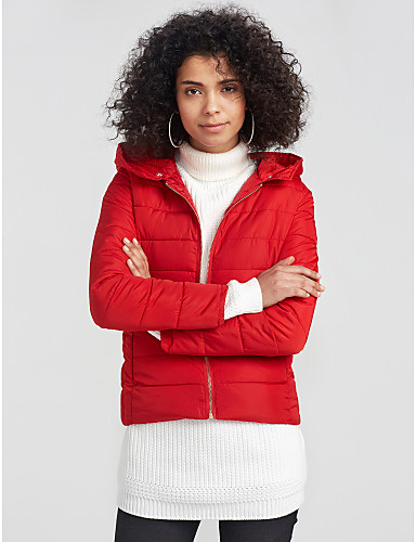 Women's Going out Active Cotton Down - Solid Colored / Striped, Print / Fur Trim