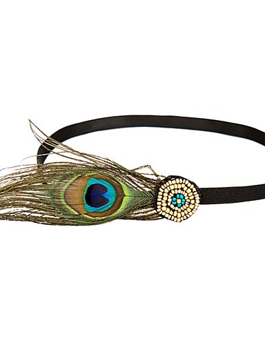 cheap Historical & Vintage Costumes-The Great Gatsby Flapper Headband 1920s Women's Cyan Feather Party Prom Cosplay Accessories Masquerade Costumes