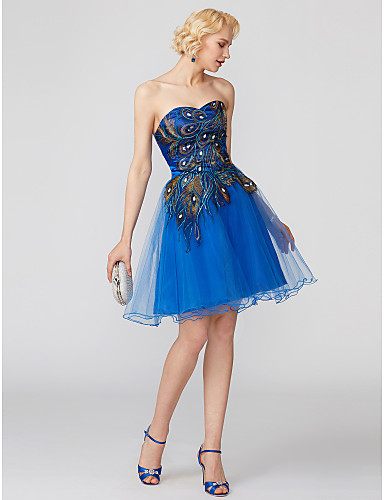 Ball Gown Sweetheart Neckline Short / Mini Lace Over Tulle Cocktail Party Dress with Pattern / Print / Pleats by TS Couture®