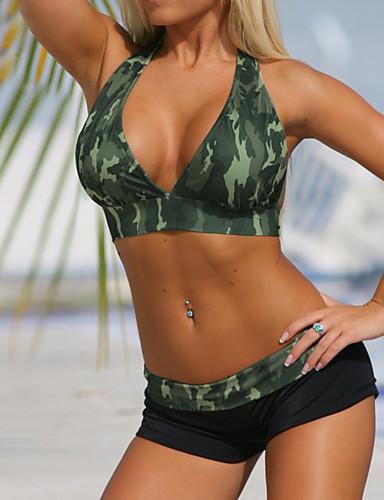 Dame Grime Bikini - Trykt mønster, Boy Leg Kamuflasje / Sporty stil / Sexy