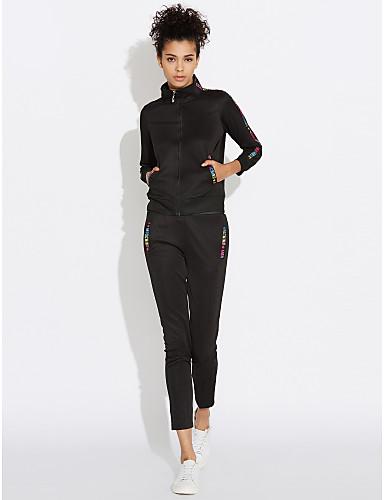 abordables Hauts pour Femmes-Femme Sweat à capuche - Couleur Pleine Pantalon Mao / Printemps / Automne / Look Sportif