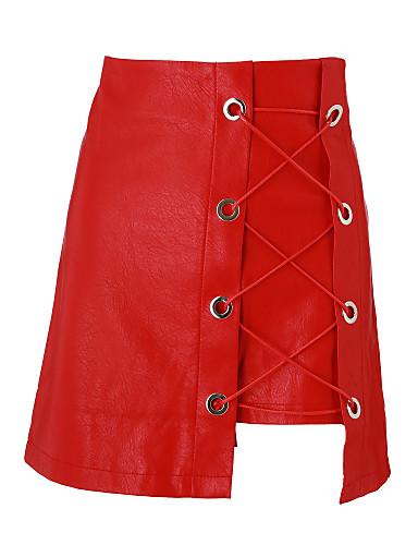 Damskie Linia A Spódnice - Kij Solidne kolory Dekolt krzyżowy