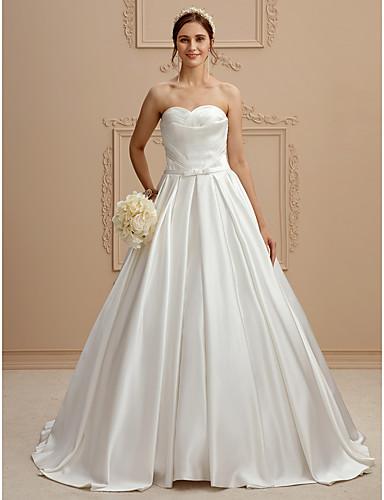 Linha A Sem Alças Cauda Corte Cetim Vestido de casamento com Cruzado Drapeado Lateral de LAN TING BRIDE®