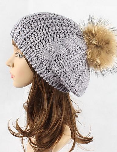 abordables Sombreros de mujer-Mujer Elegante Gorro / Boina Francesa / Sombrero Fedora Un Color / Sombrero Floppy / Sombrero de Ski / Otoño / Invierno