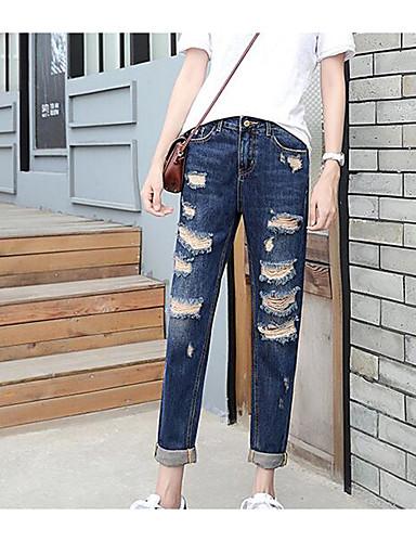 מכנסיים ג'ינסים פוליאסטר מיקרו-אלסטי גיזרה בינונית (אמצע) אחיד פשוט אביב בגדי ריקוד נשים