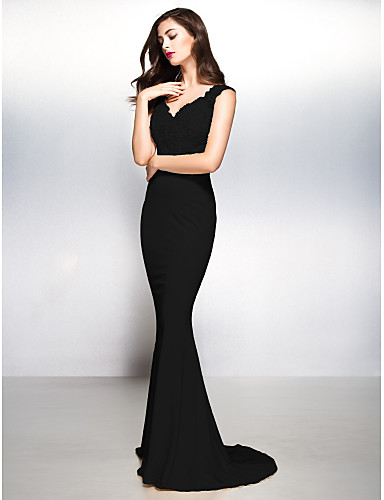 cheap Evening Dresses-Sheath / Column V Neck Sweep / Brush Train Jersey / Sheer Lace Beautiful Back Formal Evening Dress with Appliques by TS Couture®