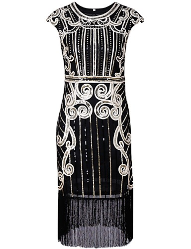 cheap Historical & Vintage Costumes-Charleston 1920s The Great Gatsby Roaring Twenties Flapper Dress Women's Sequins Tassel Costume Black / Silver / Blue Vintage Cosplay Party Homecoming Prom Short Sleeve Knee Length
