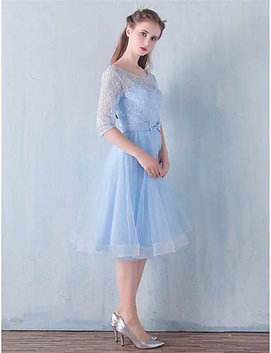 A-Linie Knie-Länge Spitze Tüll Brautjungfernkleid mit Schleife(n) durch AMGAM