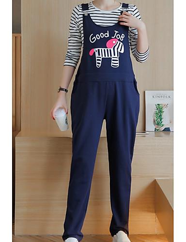 כתפיה מכנס גדול, צבע אחיד - סט ארוך כותנה מידות גדולות בגדי ריקוד נשים / סתיו / חורף