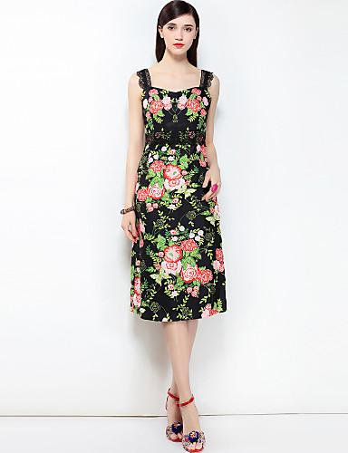 כתפיה דפוס, פרחוני - שמלה גזרת A בוהו בגדי ריקוד נשים