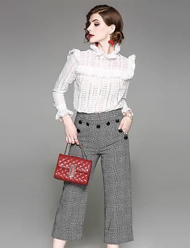 מכנס משובץ דמקה - חולצה כותנה ליציאה / עבודה בגדי ריקוד נשים