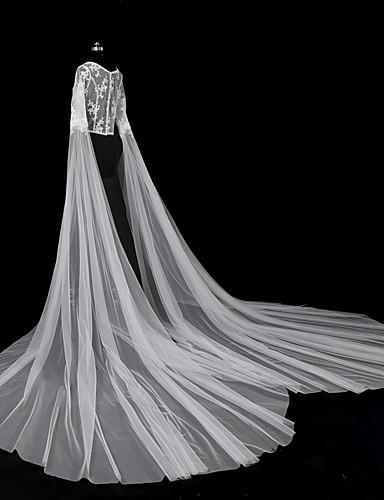 שכבה אחת סגנון מודרני סגנון פרח אביזרים אפליקצית קצה תחרה גדול ירח דבש נסיכות ארופאי תחרה חתונה הינומות חתונה צעיפי סומק צעיפי קפלה עם