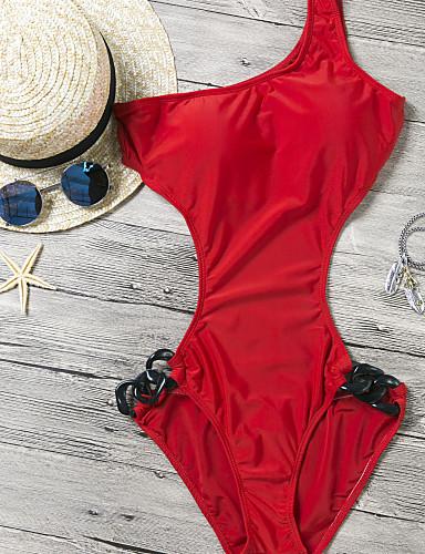 povoljno Ženske majice-Žene Jednobojno Na vezanje oko vrata Crn Crvena Jednodijelno Kupaći kostimi - Jednobojni S M L Crn / Bez žice / Sexy