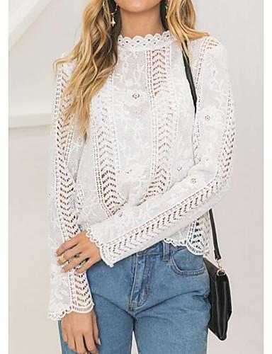 abordables Hauts pour Femme-Tee-shirt Femme, Couleur Pleine - Coton Sortie Simple / Chic de Rue Mao Blanche / Automne