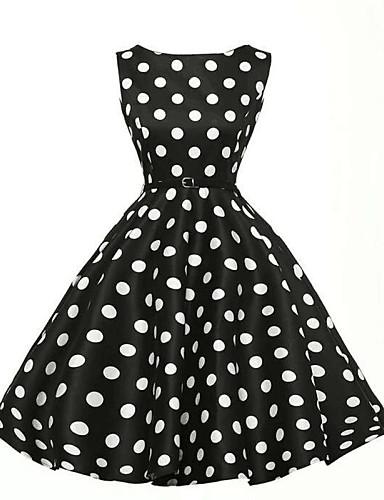 Women's Plus Size Vintage A Line Dress - Polka Dot High Rise Boat Neck