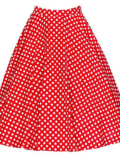 Women's Daily Going out Above Knee Skirts,Vintage Casual A Line Cotton Polka Dot Floral All Seasons
