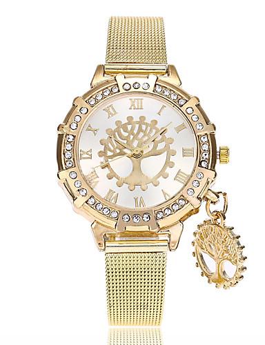 בגדי ריקוד נשים שעון יד קווארץ חיקוי יהלום סגסוגת להקה אנלוגי יום יומי אופנתי זהב - זהב