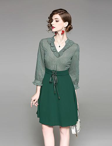 צווארון V בסיסי, פסים - שמלה גזרת A נדן עבודה בגדי ריקוד נשים
