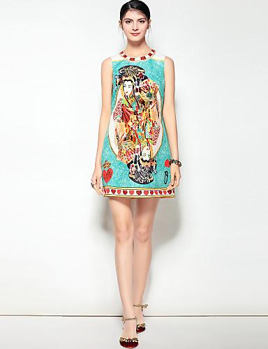 מעל הברך דפוס, פרחוני - שמלה גזרת A סגנון רחוב / בוהו בגדי ריקוד נשים