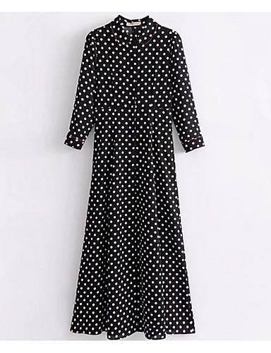צווארון חולצה מקסי מנוקד - שמלה חולצה כותנה בסיסי בגדי ריקוד נשים / אביב
