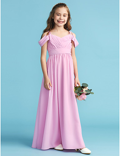 47dfadb2785 A-Line   Princess Off Shoulder Floor Length Chiffon Junior Bridesmaid Dress  with Sash   Ribbon   Pleats by LAN TING BRIDE®