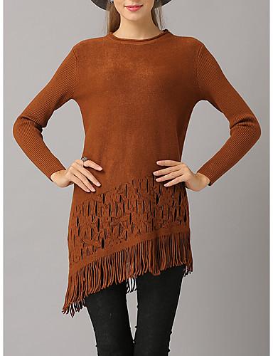 פרנזים, צבע אחיד - סוודר שרוול ארוך ליציאה בגדי ריקוד נשים / סתיו / חורף