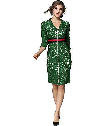 צווארון V עד הברך אחיד - שמלה תחרה סגנון רחוב ליציאה בגדי ריקוד נשים