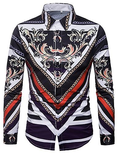 abordables Camisas de Hombre-Hombre Vintage Estampado Camisa, Cuello Italiano Delgado Geométrico Morado XL / Manga Larga