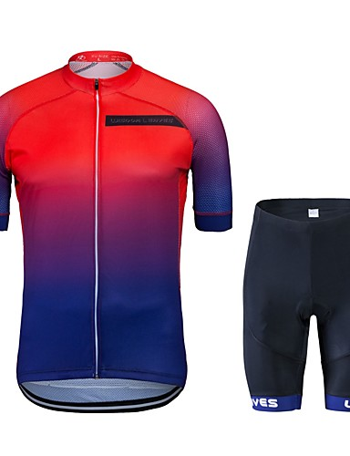 Wisdom Leaves Short Sleeve Cycling Jersey with Shorts - Red Gradient Bike  Clothing Suit Quick Dry Sports Polyester Gradient Mountain Bike MTB Road  Bike ... 152c24cea