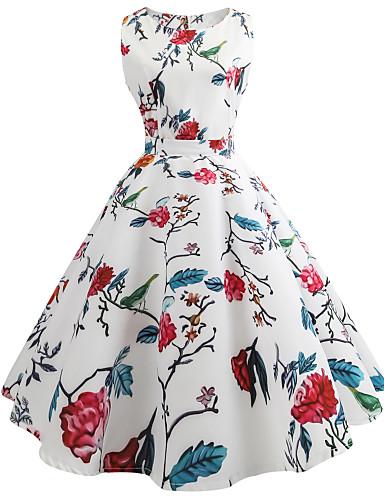 לבן צווארון U מותניים גבוהים עד הברך פרחוני - שמלה נדן סווינג כותנה סגנון רחוב עבודה חגים בגדי ריקוד נשים