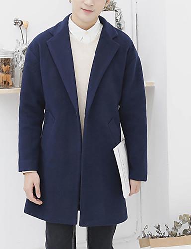 אחיד צווארון חולצה יום יומי ארוך מעיל - בגדי ריקוד גברים / שרוול ארוך
