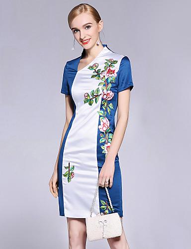 פרח, פרחוני - שמלה נדן בגדי ריקוד נשים