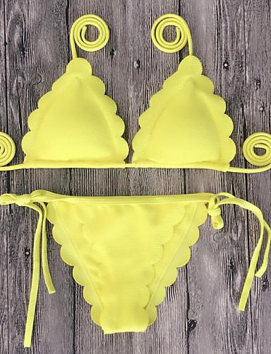 S M L אחיד, בגדי ים ביקיני נועזת משולש אודם ורוד מסמיק צהוב קולר בגדי ריקוד נשים