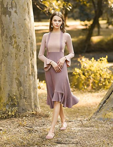 מותניים גבוהים קולור בלוק - שמלה נדן בגדי ריקוד נשים