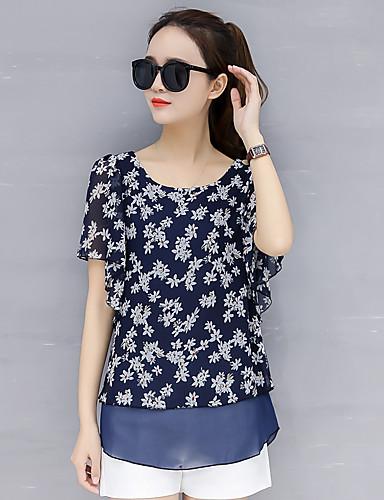 פוליאסטר של נשים חולצה רופפת - פרחוני, רשת בסיסית