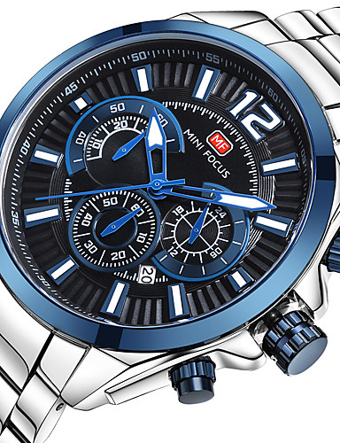 MINI FOCUS בגדי ריקוד גברים שעון יד Japanese לוח שנה / שעון עצר / שעונים יום יומיים מתכת אל חלד להקה פאר / יום יומי כסף