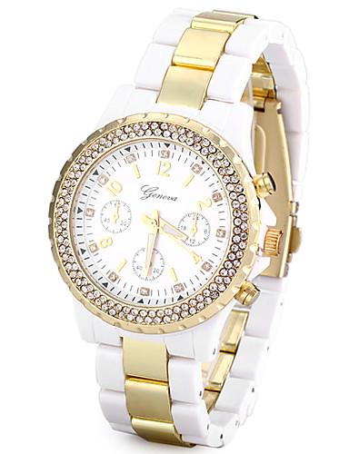 בגדי ריקוד נשים שעון יד Japanese שעונים יום יומיים / חיקוי יהלום / צג גדול Plastic להקה יום יומי / אופנתי / אלגנטית לבן / Maxell SR626SW + SEIKO CR2025