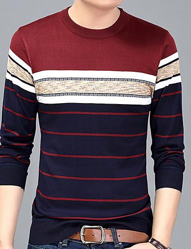 Hombre Básico Estampado Camiseta, Escote Redondo A Rayas Azul Marino L / Manga Larga / Otoño