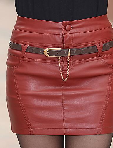 abordables Jupes-Femme Punk & Gothique Quotidien Coton Moulante Jupes - Couleur Pleine Noir Rouge S M L