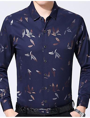 דפוס כותנה, חולצה - בגדי ריקוד גברים / שרוול ארוך