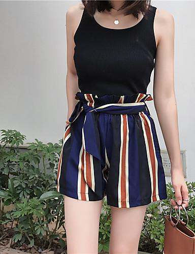בגדי ריקוד נשים שורטים מכנסיים - גיזרה גבוהה פסים / קיץ