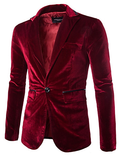 cheap Up to 90% off-Men's Party / Daily Spring Regular Blazer, Solid Colored Notch Lapel Long Sleeve Polyester / Velvet Black / Purple / Wine L / XL / XXL