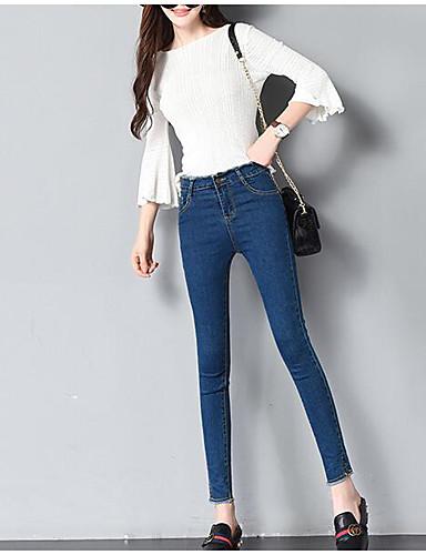 בגדי ריקוד נשים פשוט ג'ינסים מכנסיים - גיזרה גבוהה אחיד / אביב