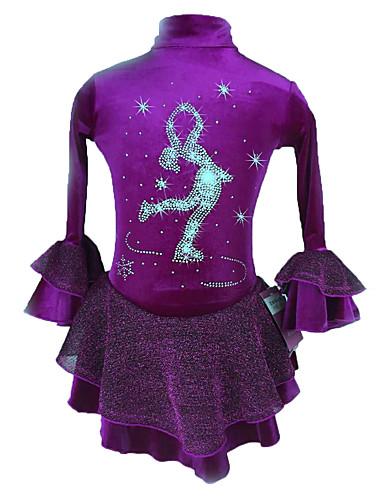 abordables Robe de Patinage-Robe de Patinage Artistique Femme Fille Patinage Robes Pêche Violet Spandex Elastique Compétition Tenue de Patinage Paillette Manches Longues Patinage Artistique
